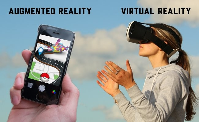 ar-augmented-reality-and-vrvirtual-reality-Futuristic Technology