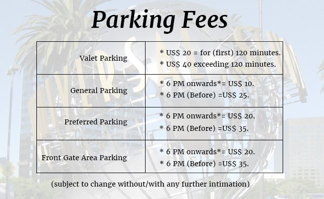 general-parking-information - Universal Studios Hollywood
