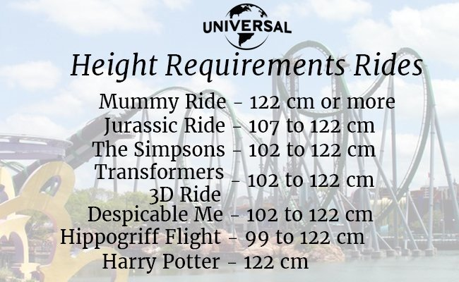 height-requirements-rides-Universal Studios Hollywood