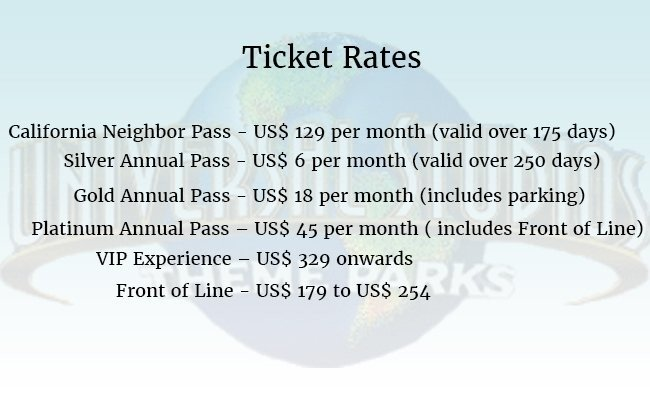 ticket-rates-Universal Studios Hollywood